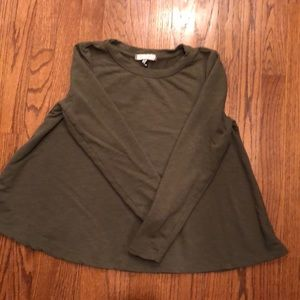 Anthropologie olive green long sleeve top EUC. XS
